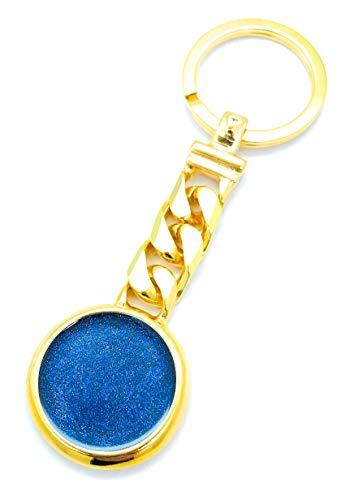Laboratori Alba Llavero de aro chic con colgante esmaltado de metal pulido chapado en oro con cadena