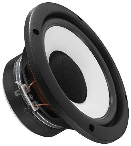 MONACOR SP-150 HiFi-Tiefmitteltöner, Bass-Chassis für die Wiedergabe der Mittel- und Tieftöne, kompakter Lautsprecher für den Einbau in ein Boxen-Gehäuse, in Schwarz/Weiß
