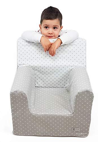 Sillón o asiento infantil de espuma para bebés y niños. Varios modelos y colores disponibles. (Estrellas Gris)