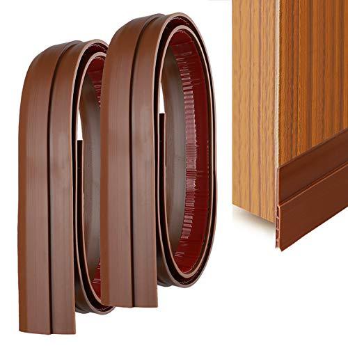 YOUSHARES 2 pz di Guarnizione Per Porta Autoadesiva In Silicone Sottoporta in Gomma Adesivo Pellicola Insonorizzata Door sweep Weather Stripping, antirumore, anti-bug (Marrone)