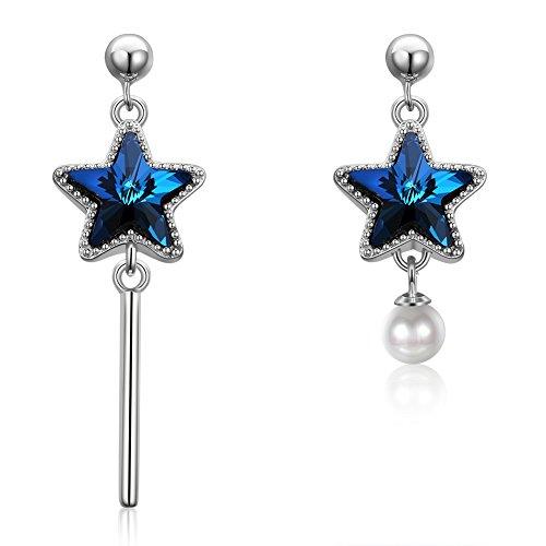 Jösva Silver Dangle Earrings for Women, 925 Sterling Silver Stud Earrings, 12mm * 40mm / 12mm * 25mm Hypoallergenic Star Long Drop Irregular Earrings with Blue Crystal & Pearl, Gift for Women