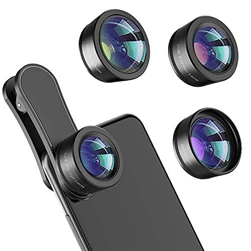GYAM Lente per Telecamere per Smartphone, 3 in 1 Kit di Clip Cellulare, Obiettivo Macro 20X E Obiettivo Fisheye Lenti...