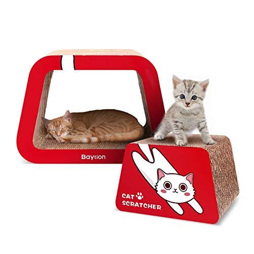 Baytion Gatto Graffiare Cartone, Prodotto di design in cartone ondulato a doppio strato riciclabile con erba gatta gratuita, adatto per gattini da 3 a 6 mesi per giocare, graffiare e dormire, Rosso