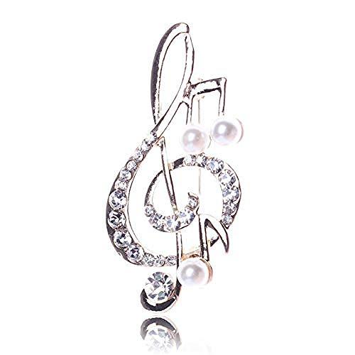 FOPUYTQABG Brooch Brooch Women's Rhinestone Music Note Scarf Exquisite Pop Brooch Rose Gold Treble Clef Pi