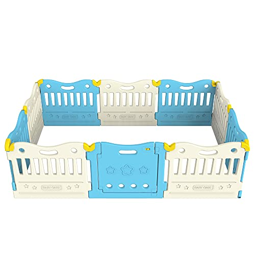 Baby Care SkyBlue And White 10-Panel Playpen