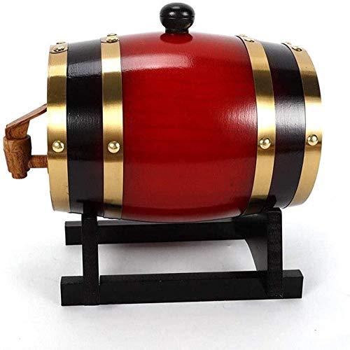 Roble envejeciendo barriles Whisky Barrel Dispensador Bucket Whiskey Decanter con Soporte de Madera y Grifo para el Almacenamiento de Vino espíritu de Cerveza y Licor (3L) b-B Excellent