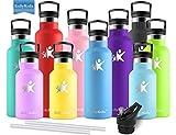 KollyKolla Botella de Agua Acero Inoxidable, Termo Sin BPA Ecológica Reutilizable, Botella Termica con Pajita y Filtro, Water Bottle para Niños & Adultos, Deporte, Oficina, Yoga, (500ml Azul Medio)