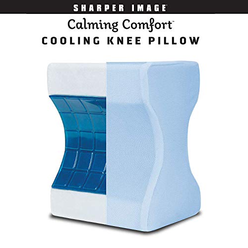 Calming Comfort Cooling Knee Pillow by Sharper Image- Memory Foam with Cooling Gel- Helps Side...