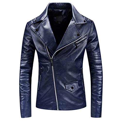 MAYOGO Herren Vintage Leder Jacke Vicky Zip Lederjacke Bike Jacke Riderjacke, Windbreaker Echtleder Jacke Bicycle Jacket Motorcycle Jacket