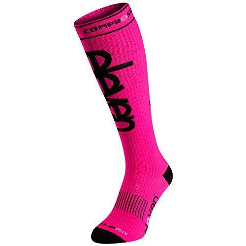 Eleven Kompressionsstrümpfe | Kompressionssocken | Laufsocken | Compression Socks | Strümpfe | Thrombosestrümpfe | Damen | Herren zum Sport, Laufen, Flug, Reise (neon pink, M-L (EU 39-45))
