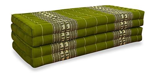 livasia Klappmatratze XL aus reinem Kapok, Faltbare Gästematratze, klappbare Matratze, asiatische Faltmatratze (Grün/Elefanten)