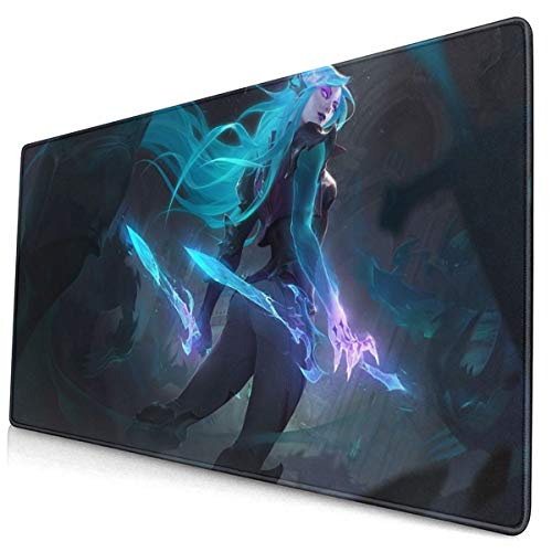 """Large Mouse Pad for League of Legends Katarina with Stitched Edges Gaming Mouse Mat Non-Slip Rubber Base Mousepad for Laptop,Computer,PC,Keyboard,11.8""""x23.6"""""""