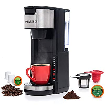 Mixpresso Single Serve 2 in 1 Coffee Brewer K-Cup Pods Compatible & Ground Coffee,Compact Coffee Maker Single Serve With 30 oz Detachable Reservoir, 5 Brew Size and Adjustable Drip Tray (Black)
