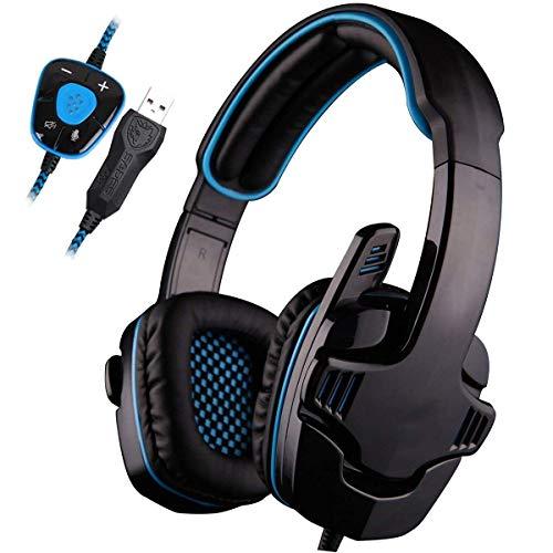 LXY Gaming-Headset, 3,5 m Klinkenstecker, Stereo, Over-Ear-Computer-Kopfhörer mit verstellbarem Mikrofon für Xboxone/PS4/Mac/Table/Phone/PC, schwarz/orange (Farbe: blau)