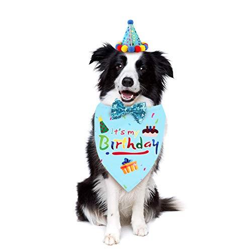 SH-RuiDu Pañuelo de cumpleaños para perro, conjunto de pajarita, cuello de perrito, bufanda, sombrero de mascota, fiesta de cumpleaños, suministros