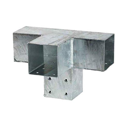 Raccord balançoire en T en acier 4 poteaux bois équarri 9x9 cm