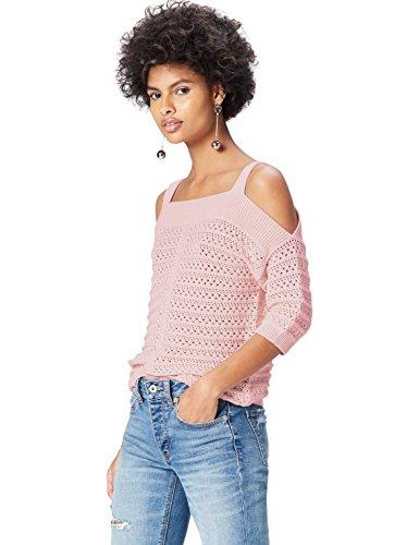 find. Jersey de Crochet con Hombros al Aire para Mujer , Rosa (Blush), 40 (Talla del Fabricante: Medium)