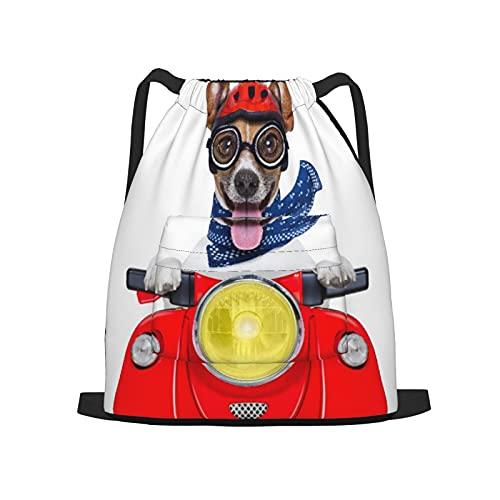 Mochila deportiva con cordón,Casco de perro rojo divertido loco tonto moto, Gym Sackpack para Hombres Mujeres Niños Yoga Travel Camping String Bag.