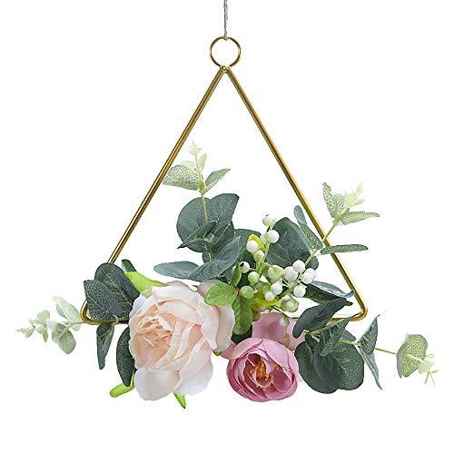 HLPIGF Guirnalda de Aro Floral Guirnalda Flores de Rosas Artificiales Anillo de Metal Corona de Aro para Boda DecoracióN de Pared de GuarderíA, de Tres Esquinas
