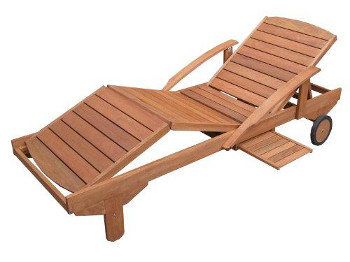 Hecht Gartenliege ERA | rollbare Sonnenliege mit Verstellbarer Rückenlehne und ausziehbarer Ablage | Holzliege aus Meranti Holz für Garten und Terasse