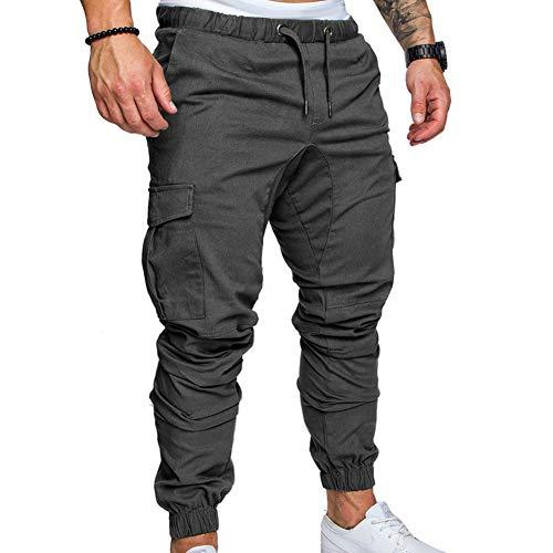 AchidistviQ Herren-Cargohose, Übergröße, einfarbig, mit mehreren Taschen, Kordelzug, Knöchelbindung, Hose, Hip-Hop-Hose, lässig, Dunkelgrau, XXXL