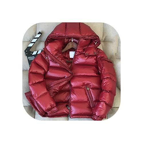 Winter Down Jacket Men Thick Warm Ultralight 90% White Duck Down Coat Outwear,Wine Red,XXL