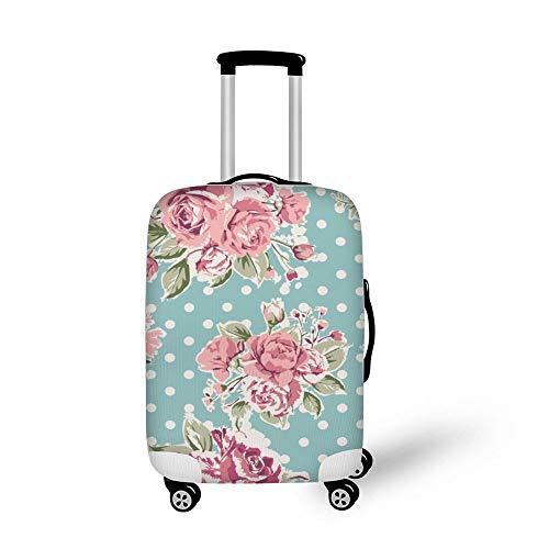 Mesllings - Funda Protectora para Maleta de Viaje para Equipaje de 18 a 32 Pulgadas, sin Costuras, Color Rosa, diseño Vintage de Rosas sobre Fondo Verde