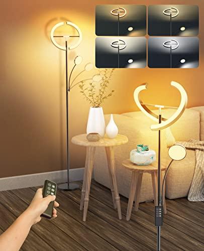 Lampara de pie, Luz de Piso LED 20W con Lámpara de Lectura Flexible de 7W, Control Remoto y Táctil, 4 Temperaturas de Color con Atenuación Continua, lampara pie para sala de Estar, Dormitorio