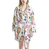 Pijamas de Las señoras, Ropa de Dormir Femenina Suaves y cálidas túnicas de Dormir Ropa de Dormir Vestido de casa con 2 Bolsillos,One Size