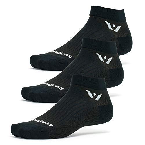 Swiftwick - PERFORMANCE ONE (3 Pairs) Running & Golf Socks, Lightweight Cushion (Black, Large)