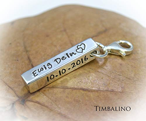 Personalisierter Schlüsselanhänger aus 925 Silber mit Namen,