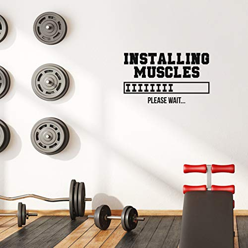 """Vinyl Wall Art Decal - Installing Muscles - 17"""" x 28"""" - Trendy Motivational Quote Sticker for Home Gym Bedroom Exercise Room Fitness Workout Training Crossfit Decor (Black)"""