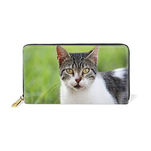 猫の顔が真剣に見える長財布 大容量 ラウンドファスナー ウォレット 男女兼用 小銭入れ一体型 プレゼント