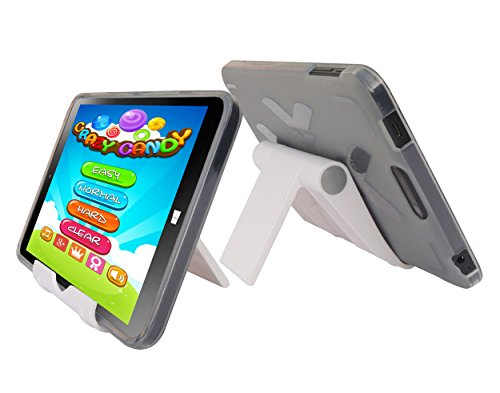 """Smoke TPU Rubber Cover Case and Multi-Angle View Stand Holder for DigiLand DL808W 8"""" Windows 10 Tablet"""