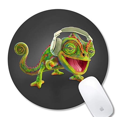 Cute Mouse pad Personalized Design Funny Animal Chameleon Mouse pad Round Non-Slip Rubber Mouse pad for Computers