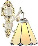 Lámpara industrial, Tiffany estilo mediterráneo lámpara de pared retro europeo mosaico bádminton pared luz pintada lámpara de vidrio E27 cabeza sola hierro forjado hecho a mano ,Decoración del hogar