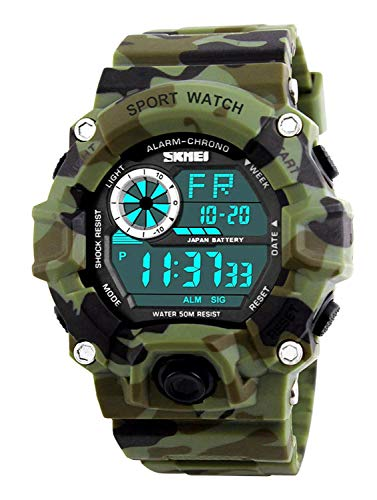 Fanmis Men's Outdoor Sports Fan Watch Multifunction Electronic Watch Camo Green