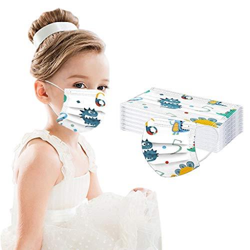 10 Stück Kinder Mundschutz, Mund und Nasenschutz, Cartoon Druck Mundschutz Kinder, Schule Mundschutz Pack, Atmungsaktive Baumwolle Mund-Nasenschutz für Jungen Mädchen-A
