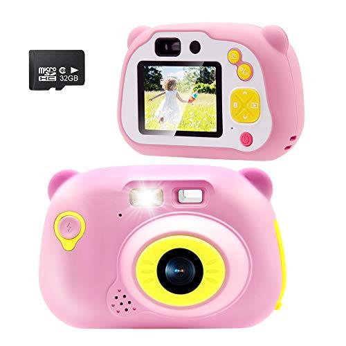 Sonkir (32GB SD Card Incluida) Cámara Digital para niños, 15.0MP 1080P HD Video Cámara Frontal Portátil Recargable, Regalo para niños y niñas (Rosa)