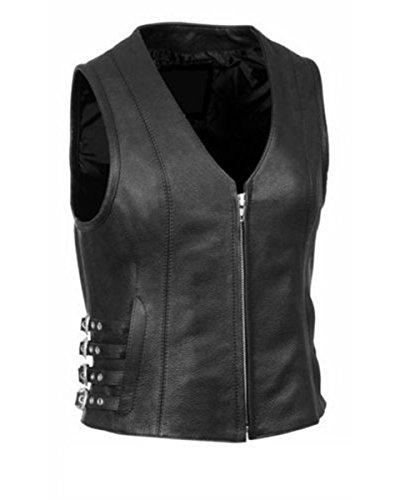 Biker-Weste für Damen, echtes Leder, Schwarz Gr. 4X-Large, Schwarz