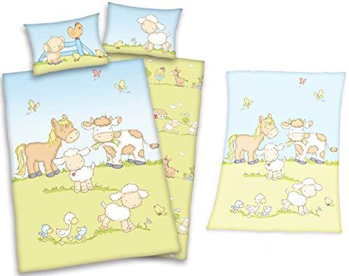 Baby Best - Animaux de la Ferme - Linge de Lit Bébé et Couverture Laineux de Herding, Vert/Bleu , 100x135