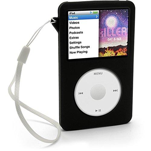 iGadgitz U0258 Silikon Schutzhülle Skin Kompatibel mit Apple iPod Classic 80GB, 120GB & 160GB + Displayschutzfolie & Schlüsselband–schwarz
