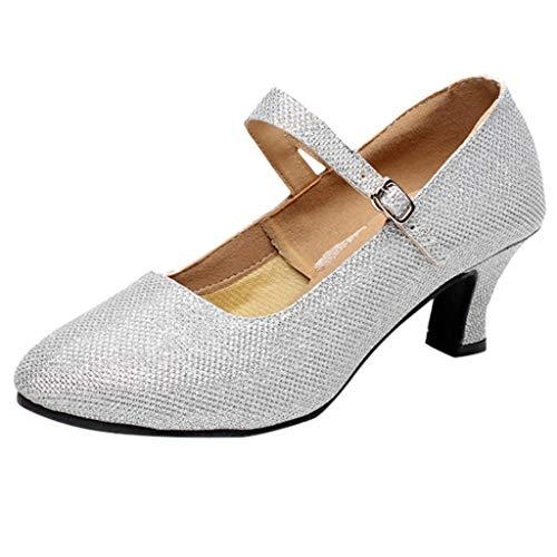 Damen Tanzschuhe Glitzer Knöchelriemen Mittelhohe Weicher Boden für Party Hochzeit, Standard Latein Tango Salsa Schuhe Klassische Pumps Elegante Brautschuhe Celucke (Silber, EU39)