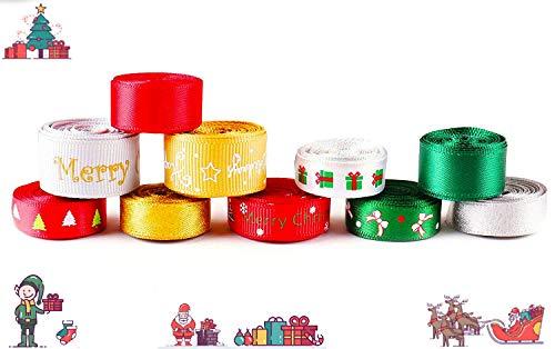 Luxbon Nastri Natalizi 20 Metri (10 x 2 Metri) Tema di Natale Nuovo Anno Vacanza Invernale Decorazione per Regali Feste