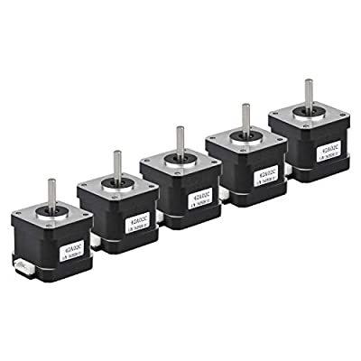 RTELLIGENT Nema 17 Stepper Motor, 5PCS 2 Phase Step Motor Bipolar 1.5A 59.5oz.in(42Ncm) 42x42x38mm 4-wire 30cm Long Cable for 3D Printer (42A02C-Dupont, 5)