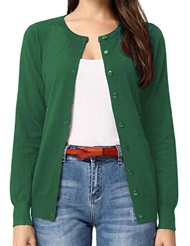 GRACE KARIN Long Sleeve Button Down Crew Neck Soft Knit Cardigan Sweater(2XL,Army Olive