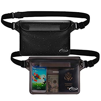 AiRunTech Waterproof Pouch with Waist Strap  2 Pack  | Beach Accessories Best Way to Keep Your Phone and Valuables Safe and Dry | Perfect for Boating Swimming Snorkeling Kayaking Beach Pool Water Park