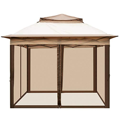 N-B 11x11ft Patio Gazebo Outdoor Canopy With Netting And Sandbags For Backyard Party Event Lawn Camping Garden Tent Shelter Awning