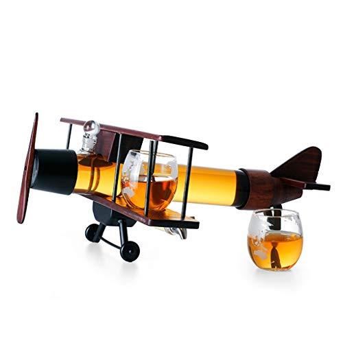 YWSZJ Modelo de avión Decantador de Vidrio Botella de Vino Conjunto de Vino Decoración del hogar Whisky Vidrio de Vidrio Alto Borosilicato Vidrio Recipiente de Vino