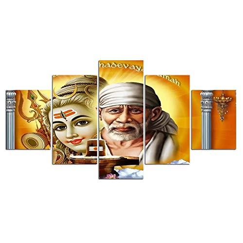 WADPJ Cuadro en Lienzo póster 5 Piezas Shirdi Sai Baba Shiva hindú Sabio Arte de la Pared Cuadro de Pintura para Sala de estar-40x60 40x80 40x100cm sin Marco